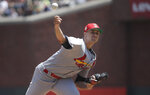 St. Louis Cardinals pitcher Jack Flaherty throws to a San Francisco Giants batter during the third inning of a baseball game in San Francisco, Sunday, July 7, 2019. (AP Photo/Jeff Chiu)