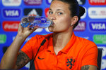 Netherlands' Sherida Spitse drinks water during a press conference at the Stade de Lyon, outside Lyon, France, Saturday, July 6, 2019. Netherlands will face US in a Women's World Cup final match Sunday in Lyon. (AP Photo/Francois Mori)