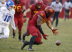 Iowa State defensive end Matt Leo (89) looks to recover a blocked punt in front of Drake punter Ross Kennedy (10) during the first half of an NCAA college football game, Saturday, Dec. 1, 2018, in Ames, Iowa. (AP Photo/Charlie Neibergall)