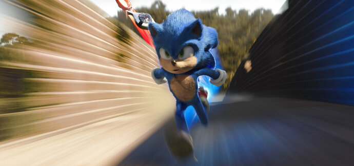 This image released by Paramount Pictures shows Sonic, voiced by Ben Schwartz, in a scene from