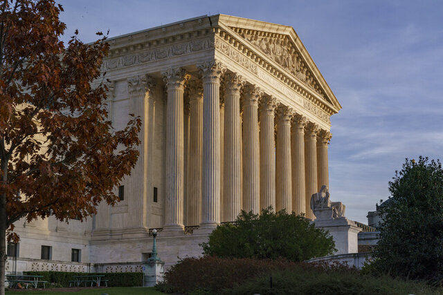 FILE - In this Nov. 5, 2020 photo, The Supreme Court is seen in Washington. (AP Photo/J. Scott Applewhite)