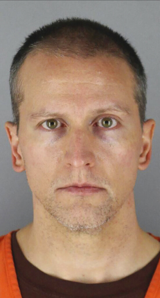 FILE - This June 3, 2020 file photo provided by the Hennepin County, Minn., Sheriff's Office shows former Minneapolis police officer Derek Chauvin, who is charged with murder in the death of George Floyd. Chauvin posted bail on Wednesday, Oct. 7, 2020, and was released from prison, according to court documents. Chauvin posted a $1 million bond, and the Department of Corrections confirmed he was no longer in custody at the state's facility in Oak Park Heights, where he had been detained pending trial. (Hennepin County Sheriff's Office via AP)