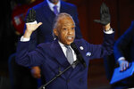 The Rev. Al Sharpton speaks at a memorial service for George Floyd at North Central University Thursday, June 4, 2020, in Minneapolis. (AP Photo/Julio Cortez)