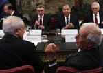 Russian Foreign Minister Sergei Lavrov, center front, and his Spanish counterpart Josep Borrell, right, during a meeting at the foreign ministry in Madrid, Spain, Tuesday, Nov. 6, 2018. (AP Photo/Manu Fernandez)