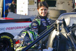 Hailie Deegan gets ready to go out during practice for the NASCAR Trucks series auto race at Daytona International Speedway, Thursday, Feb. 11, 2021, in Daytona Beach, Fla. (AP Photo/John Raoux)
