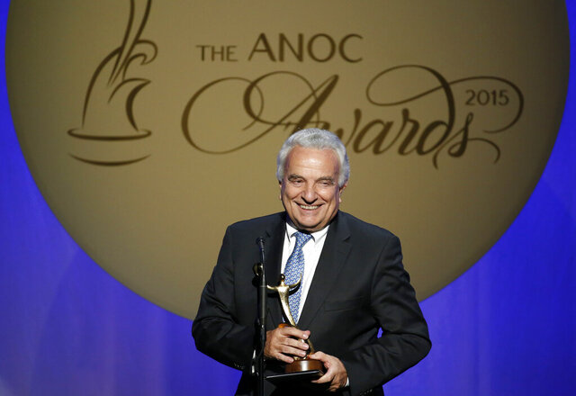 "FILE - In this Thursday, Oct. 29, 2015 filer, Francesco Ricci Bitti speaks after receiving the award for Outstanding Lifetime Achievement, during an Association of National Olympic Committees (ANOC) awards ceremony, in Washington. Despite some early differences of opinion, the 33 sports that make up the Olympic program voted unanimously on Monday to delay the Tokyo Games by a full year. Moments later, the International Olympic committee made it official. ""We were the last to express our view. We're the ones who have problems with the calendar to deal with,"" said Francesco Ricci Bitti, the president of the Association of Summer Olympic International Federations (ASOIF). (AP Photo/Alex Brandon, File)"