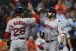 Boston Red Sox's Mitch Moreland, right, is congratulated by J.D. Martinez after hitting a three-run home run against the Baltimore Orioles during the fifth inning of a baseball game Tuesday, May 7, 2019, in Baltimore. (AP Photo/Gail Burton)