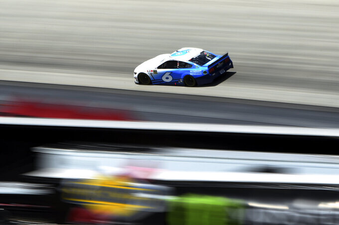 Driver Ryan Newman (6) competes during the NASCAR Cup Series auto race, Monday, May 6, 2019, at Dover International Speedway in Dover, Del. (AP Photo/Will Newton)