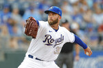 Kansas City Royals pitcher Danny Duffy throws against a Baltimore Orioles batter in the first inning of a baseball game at Kauffman Stadium in Kansas City, Mo., Friday, July 16, 2021. (AP Photo/Colin E. Braley)