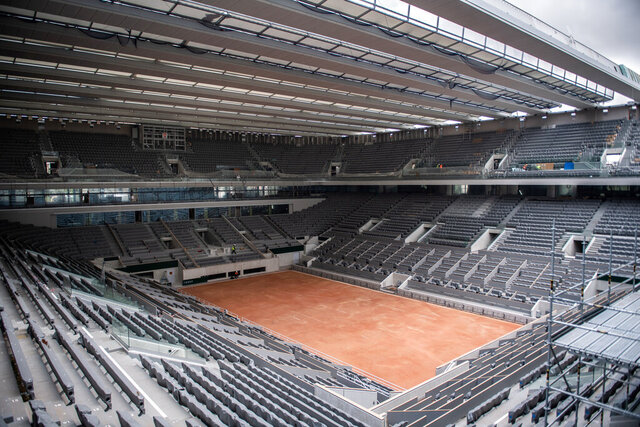 FILE - In this Feb. 5, 2020, file photo, construction work of the newly built roof of the Philippe Chatrier center court is pictured at Roland Garros stadium in Paris. The professional tennis tours extended their suspensions caused by the coronavirus pandemic through at least the end of July on Friday, May 15, 2020, bringing the total number of scrapped tournaments around the world to more than 40. (Martin Bureau/Pool via AP, File)