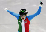Arianna Fontana of Italy reacts as she crosses the finish line to win the ladies' 500 meters short track speedskating final in the Gangneung Ice Arena at the 2018 Winter Olympics in Gangneung, South Korea, Tuesday, Feb. 13, 2018. (AP Photo/Julie Jacobson)