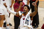Arkansas forward Vance Jackson (2) celebrates after a 68-66 win over Texas Tech in a second-round game in the NCAA men's college basketball tournament at Hinkle Fieldhouse in Indianapolis, Sunday, March 21, 2021. (AP Photo/Michael Conroy)