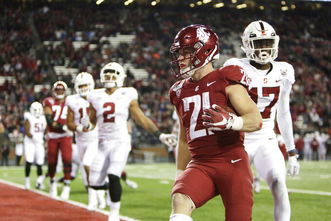 Washington State running back Max Borghi (21) runs for a touchdown during the second half of an NCAA college football game against Stanford in Pullman, Wash., Saturday, Nov. 16, 2019. Washington State won 49-22. (AP Photo/Young Kwak)