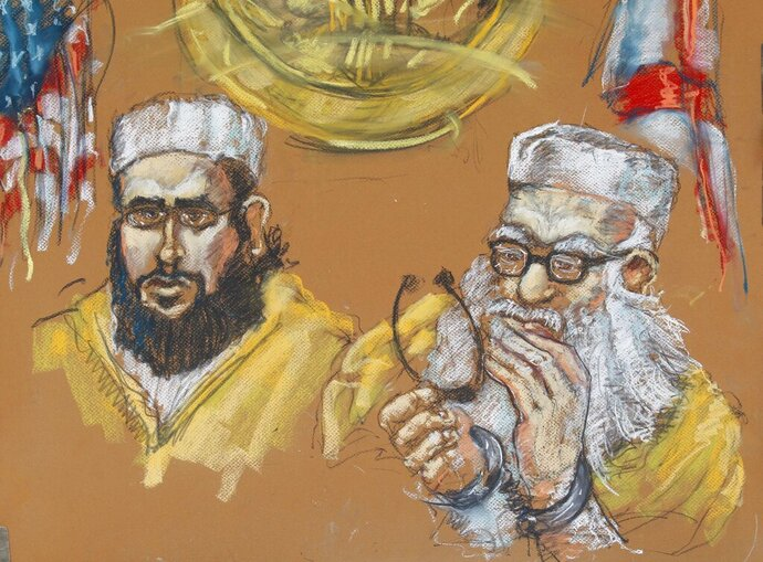 FILE- In this May 16, 2011 artist rendering, Hafiz Muhammed Sher Ali Khan, 76, right, and one of his sons, 24-year-old Izhar Khan, left, are shown in federal court in Miami. The ailing elder Khan, who was convicted of providing financial support to the Pakistani Taliban, will be released early from prison on humanitarian grounds. Miami U.S. District Judge Robert Scola ordered Friday, Oct. 11, 2019, that 84-year-old Hafiz Khan be released from a North Carolina prison to a hospice care facility (AP Photo/Shirley Henderson, File)
