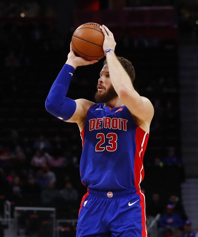 Detroit Pistons forward Blake Griffin shoots during the first half of an NBA basketball game against the Washington Wizards, Monday, Feb. 11, 2019, in Detroit. (AP Photo/Carlos Osorio)