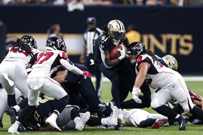 New Orleans Saints running back Alvin Kamara (41) carries in the first half of an NFL football game against the Atlanta Falcons in New Orleans, Sunday, Nov. 10, 2019. (AP Photo/Butch Dill)
