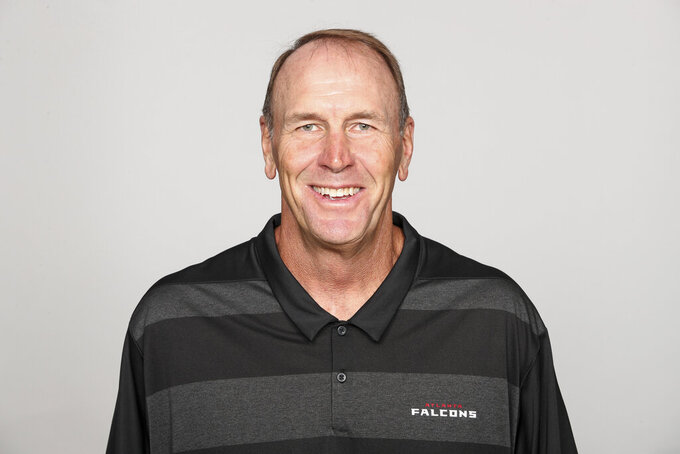 FILE - This is a 2019 file photo showing Mike Mularkey of the Atlanta Falcons NFL football team. Atlanta Falcons tight end coach Mike Mularkey is retiring after 25 years in the league. Mularkey is retiring after a one-year second stint in Atlanta. He is a former Tennessee Titans coach and also served as a head coach in Buffalo and Jacksonville. (AP Photo, File)