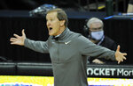 Oregon head coach Dana Altman reacts to a call during the first half of an NCAA college basketball game against Stanford, Saturday, Jan. 2, 2021 in Eugene, Ore. Oregon won the game 73-56. (AP Photo/Andy Nelson)
