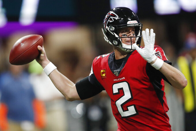 Atlanta Falcons quarterback Matt Ryan (2) throws against the Philadelphia Eagles during the first half of an NFL football game, Sunday, Sept. 15, 2019, in Atlanta. (AP Photo/John Bazemore)