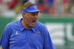 Florida head coach Dan Mullen reacts to a play during the second half of an NCAA college football game against South Florida Saturday, Sept. 11, 2021, in Tampa, Fla. (AP Photo/Chris O'Meara)