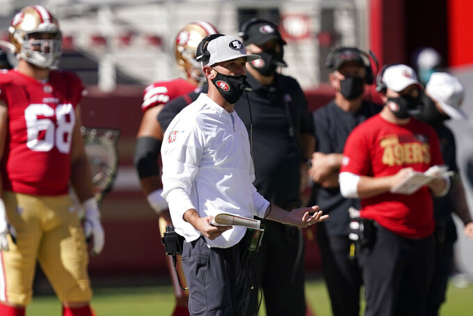 San Francisco 49ers head coach Kyle Shanahan reacts on the sideline during the first half of an NFL football game against the Miami Dolphins in Santa Clara, Calif., Sunday, Oct. 11, 2020. (AP Photo/Tony Avelar)