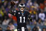 Philadelphia Eagles' Carson Wentz passes during the first half of an NFL football game against the New York Giants, Monday, Dec. 9, 2019, in Philadelphia. (AP Photo/Matt Rourke)