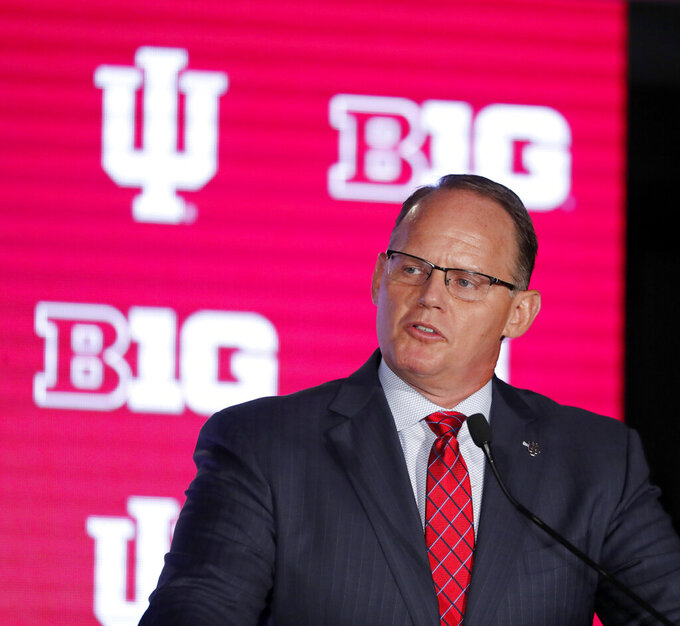 Indiana head coach Tom Allen responds to a question during the Big Ten Conference NCAA college football media days Thursday, July 18, 2019, in Chicago. (AP Photo/Charles Rex Arbogast)