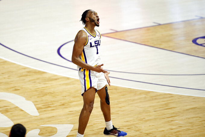 LSU guard Ja'Vonte Smart (1) reacts after scoring a basket in the second half of an NCAA college basketball game against Texas Tech in Baton Rouge, La., Saturday, Jan. 30, 2021. Texas Tech won 76-71. (AP Photo/Tyler Kaufman)