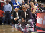 FILE - In this Jan. 20, 2020, file photo, North Carolina State coach Kevin Keatts watches during the first half of the team's NCAA college basketball game against Virginia in Charlottesville, Va. (AP Photo/Lee Luther Jr., File)