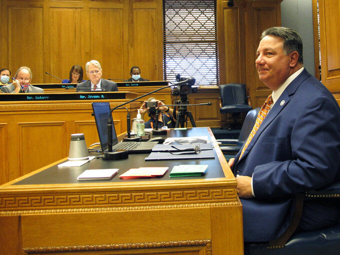Secretary of State Kyle Ardoin speaks to the House and Governmental Affairs Committee about his proposed emergency plan for the fall Louisiana elections, on Wednesday, Aug. 19, 2020, in Baton Rouge, La. (AP Photo/Melinda Deslatte)