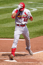 St. Louis Cardinals' Lars Nootbaar (68) crosses home plate after hitting a two-run home run off Pittsburgh Pirates starting pitcher JT Brubaker during the fourth inning of a baseball game in Pittsburgh, Thursday, Aug. 12, 2021. (AP Photo/Gene J. Puskar)