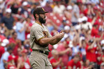 San Diego Padres starting pitcher Jake Arrieta pauses on the mound during the first inning of a baseball game against the St. Louis Cardinals Sunday, Sept. 19, 2021, in St. Louis. (AP Photo/Jeff Roberson)