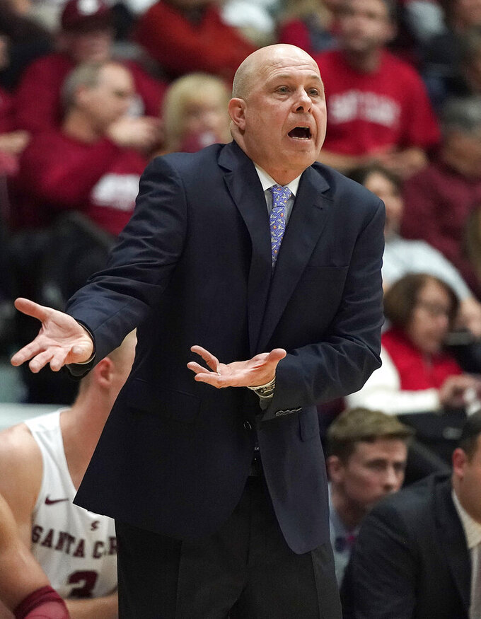 Santa Clara coach Herb Sendek yells to his players during the first half against Gonzaga in an NCAA college basketball game Thursday, Jan. 24, 2019, in Santa Clara, Calif. (AP Photo/Tony Avelar)