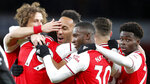 Arsenal's Pierre-Emerick Aubameyang celebrates after scoring his side's first goal during the English Premier League soccer match between Arsenal and Newcastle at the Emirates Stadium in London, Sunday, Feb. 16, 2020.(AP Photo/Frank Augstein)