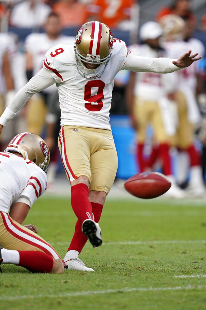 San Francisco 49ers kicker Robbie Gould (9) kicks a field goal against the Denver Broncos during an NFL preseason football game, Monday, Aug. 19, 2019, in Denver. (AP Photo/Jack Dempsey)