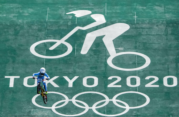 Elke Vanhoof of Belgium takes part in a BMX Racing training session at the 2020 Summer Olympics, Tuesday, July 27, 2021, in Tokyo, Japan. (AP Photo/Ben Curtis)