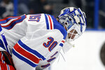 New York Rangers goaltender Henrik Lundqvist reacts after giving up a goal to the Tampa Bay Lightning during the second period of an NHL hockey game Thursday, Nov. 14, 2019, in Tampa, Fla. (AP Photo/Chris O'Meara)