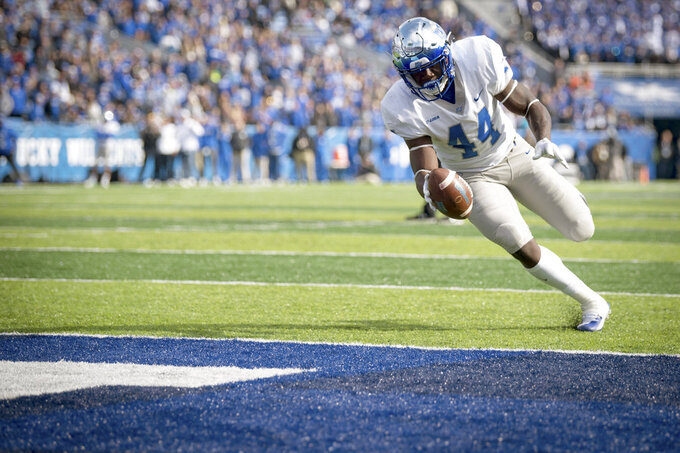 Middle Tennessee running back Chaton Mobley (44) runs for a touchdown during the first half of an NCAA college football game against Kentucky in Lexington, Ky., Saturday, Nov. 17, 2018. (AP Photo/Bryan Woolston)