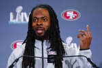 San Francisco 49ers cornerback Richard Sherman speaks during a media availability, Wednesday, Jan. 29, 2020, in Miami, for the NFL Super Bowl 54 football game against the Kansas City Chiefs. (AP Photo/Wilfredo Lee)