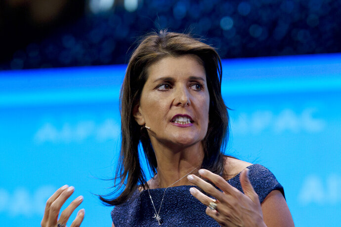 FILE - In this March 25, 2019, file photo, former Ambassador to the U.N. Nikki Haley, speaks at the 2019 American Israel Public Affairs Committee (AIPAC) policy conference in Washington. With the launch of her new memoir, fHaley has fanned flames suggesting she may be gearing up for a possible presidential bid, one observers say could come as early as 2024 (AP Photo/Jose Luis Magana, File)