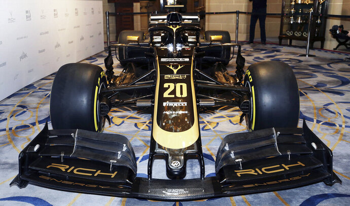 A general view of the new livery during the Rich Energy Haas F1 Team 2019 car launch at the Royal Automobile Club, in London, Thursday, Feb. 7, 2019. (Steven Paston/PA via AP)