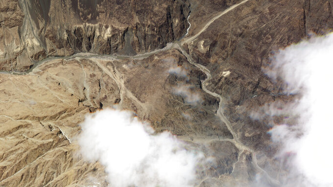 This June 18, 2020, satellite photo released by Planet Labs, shows the reported site of a fatal clash between Indian and Chinese troops in the Galwan River Valley in the Ladakh region near the Line of Actual Control, BKalong their disputed border high in the Himalayas. (Planet Labs via AP)