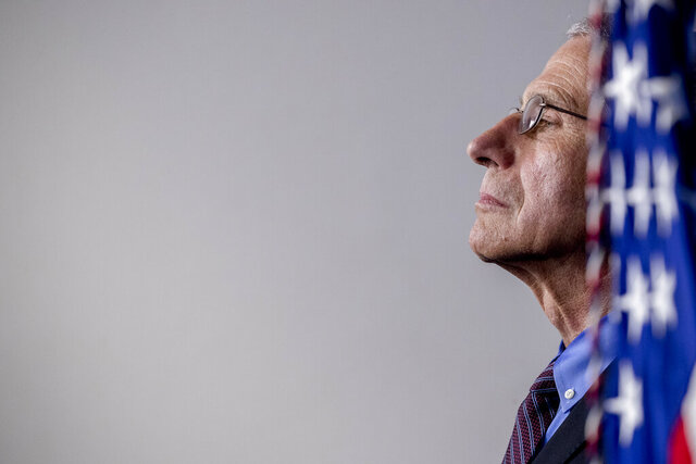 Dr. Anthony Fauci, director of the National Institute of Allergy and Infectious Diseases, appears at a news conference about the coronavirus in the James Brady Press Briefing Room of the White House, Thursday, April 9, 2020, in Washington. (AP Photo/Andrew Harnik)