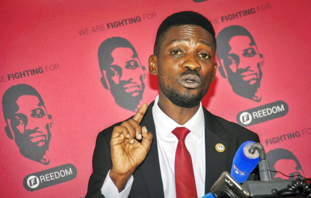 Bobi Wine, a singer and lawmaker whose real name is Kyagulanyi Ssentamu, speaks at the National Unity Platform (NUP) head office in the Kamwokya suburb of Kampala, Uganda Monday, Aug. 31, 2020. Bobi Wine, who spoke on Monday to answer questions swirling around his age and academic record, cited