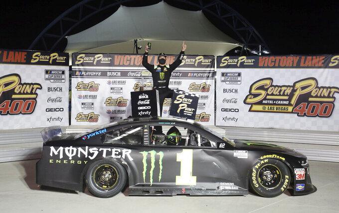 Kurt Busch celebrates after winning a NASCAR Cup Series auto race, Sunday, Sept. 27, 2020, in Las Vegas. (AP Photo/Isaac Brekken)