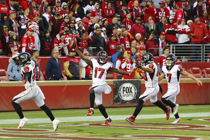 Atlanta Falcons' Olamide Zaccheaus (17) celebrates after scoring against the San Francisco 49ers during the second half of an NFL football game in Santa Clara, Calif., Sunday, Dec. 15, 2019. (AP Photo/John Hefti)