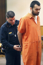 Vincent Vetromile appears in court in Rochester, N.Y., on Thursday, March 7, 2019. Vetromile and three others are charged with plotting to attack an Islamic community in upstate New York. (Jamie Germano/Democrat & Chronicle via AP, Pool)