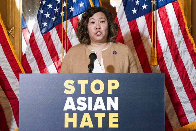 Rep. Grace Meng D-N.Y., speaks during a news conference on Capitol Hill, in Washington, Tuesday, April 13, 2021. (AP Photo/Jose Luis Magana)