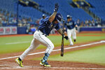 Tampa Bay Rays' Wander Franco reacts after hitting a two-run single off Boston Red Sox pitcher Raynel Espinal during the eighth inning of a baseball game Monday, Aug. 30, 2021, in St. Petersburg, Fla. (AP Photo/Chris O'Meara)