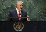 Colombia's President Ivan Duque addresses the 76th Session of the United Nations General Assembly at U.N. headquarters in New York on Tuesday, Sept. 21, 2021. (Eduardo Munoz/Pool Photo via AP)